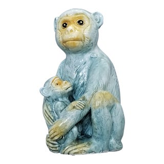 1950s Rare Italian Ceramic Capuchin Monkey and Baby Sculpture - Mid Century Modern Boho Chic Hollywood Regency Majolica Tropical