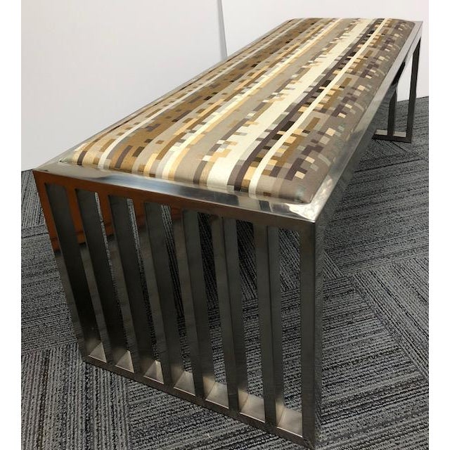 Contemporary Museum Brushed Chrome Modern Bench For Sale - Image 3 of 7