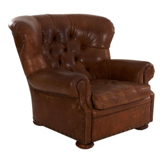 """Vintage Ralph Lauren """"Writer's"""" Leather Wingback Arm Chair For Sale"""
