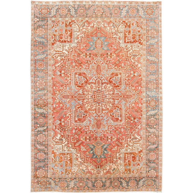 Early 20th Century Antique Heriz Wool Rug For Sale - Image 11 of 11