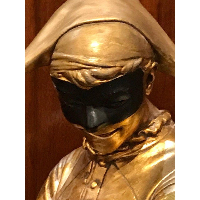 Gold Hollywood Regency Standing Gold and Silvered Harlequin Sculpture For Sale - Image 8 of 12