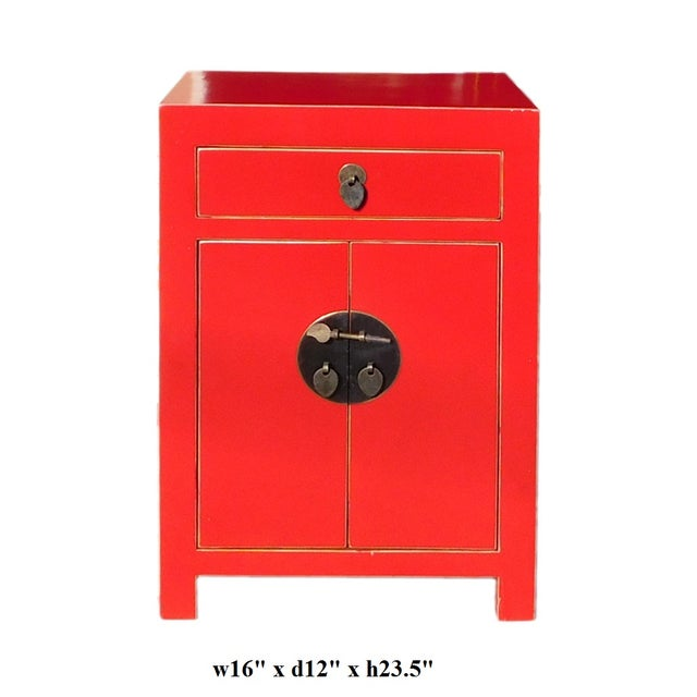 Chinese Red Round Moon Face Cabinet Side Table - Image 5 of 5