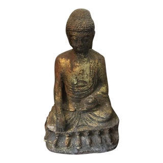 Seated Cast Iron Buddha Statue For Sale