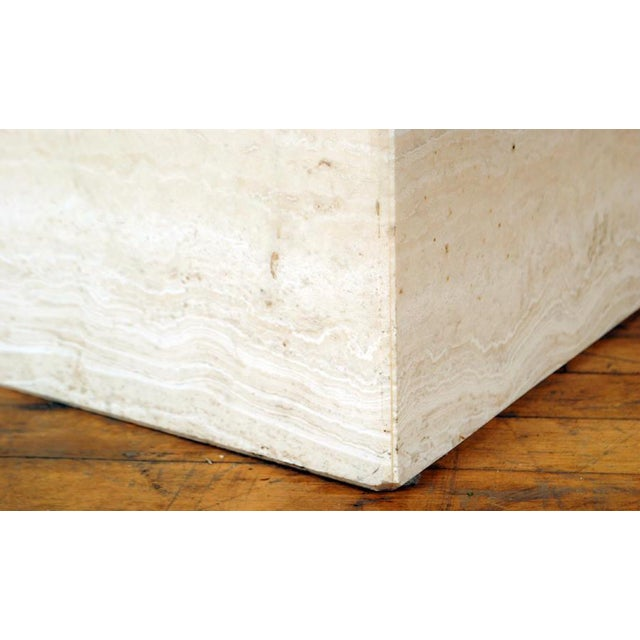 1970s Travertine Pedestal Dining Table For Sale - Image 5 of 9