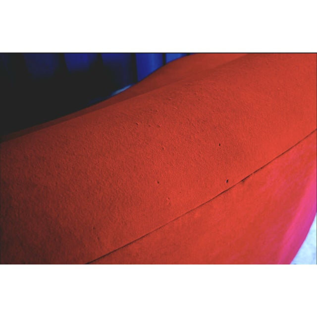 Vladimir Kagan Style Red Sofa For Sale - Image 4 of 5