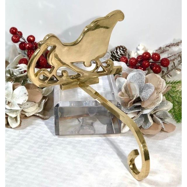 Vintage Brass Stocking Hanger Christmas Hook Holiday Sleigh For Sale - Image 4 of 6