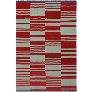 Contemporary Kilim Carmon Hand-Woven Wool Rug - 4′7″ × 7′9″ For Sale