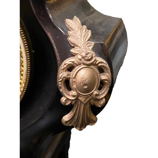 19th Century 19th Century French Black Gilded Clock For Sale - Image 5 of 9