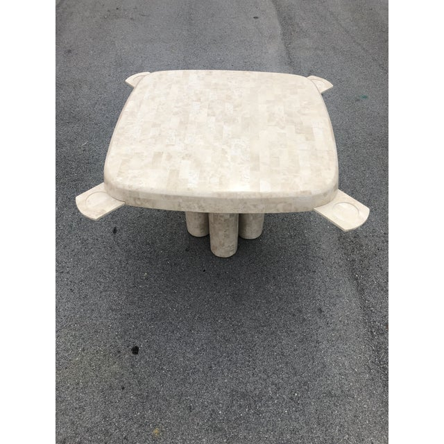 Modern Post Modern Tessellated Fossilized Marble Game Table For Sale - Image 3 of 12