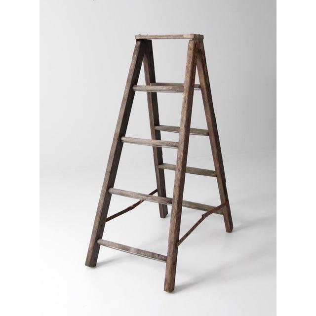 Vintage Wooden Folding Ladder For Sale - Image 11 of 11