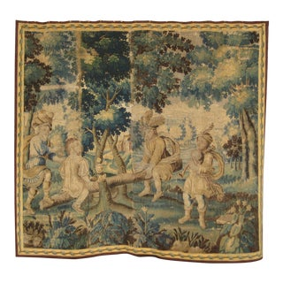 French 17 Century Louis XIV Aubusson Tapestry Wall Hanging For Sale