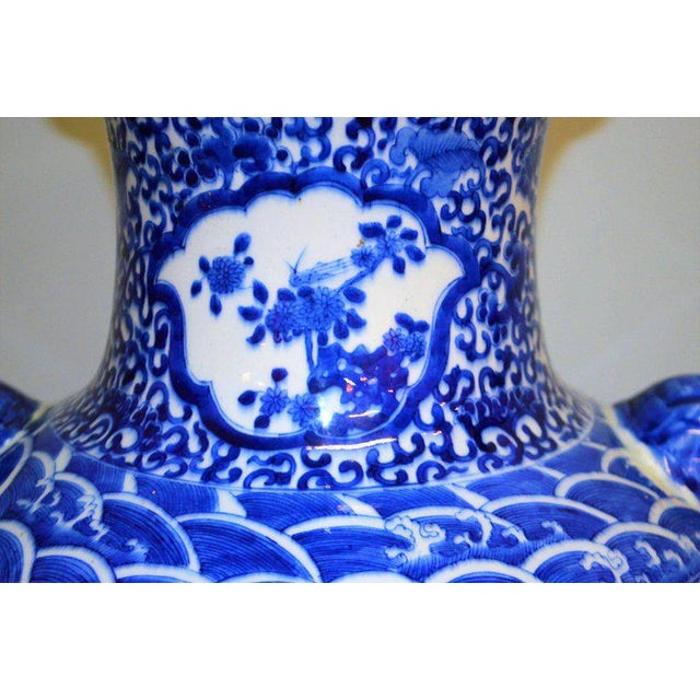Blue Large Blue & White Chinese Porcelain Vase with Figural Subjects and Foo Handles For Sale - Image 8 of 9
