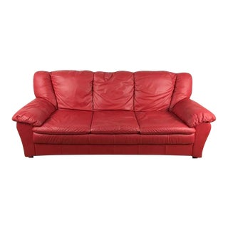 Faux Red Leather Contemporary Sofa