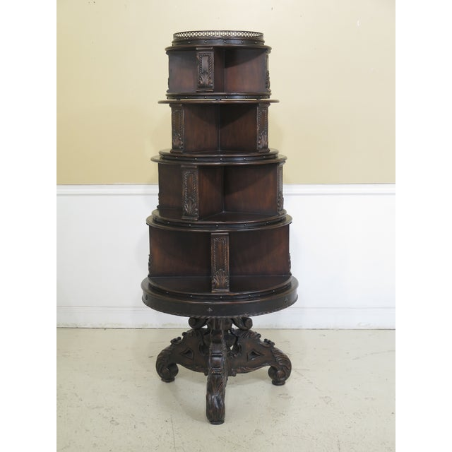 Maitland Smith Carved Mahogany Revolving Bookcase For Sale - Image 10 of 10