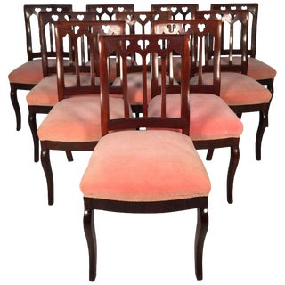 Mid 19th Century John Jelliff Gothic Revival Upholstered Dining Chairs- Set of 10 For Sale