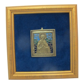 Russian Early 19th Century Blue Enamel & Bronze Saint Travel Icon Framed For Sale