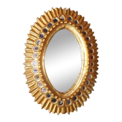 French Gold Gilt Wood Starburst Sunburst Mirror For Sale