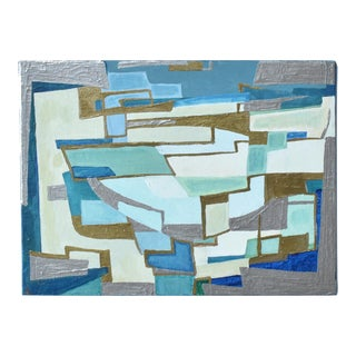 Contemporary Mid-Century Cubist Style Abstract Painting in Blue, Silver, and Gold For Sale