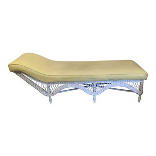 Large Vintage Wicker Chaise Lounge For Sale
