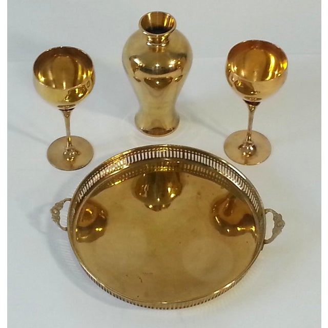 Mid-Century Modern Mid-Century Brass Goblets, Vase & Tray - Set of 4 For Sale - Image 3 of 11