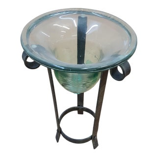 Sarreid Murano Glass Planter on Iron Stand For Sale