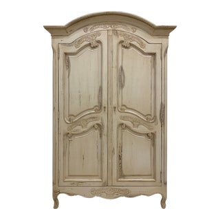 Hand Carved Vintage French Armoire For Sale