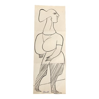"""1950s Mid-Century Modern Vintage """"Strength"""" Drawing For Sale"""