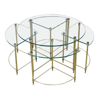 French Modern Brass Coffee Table and Nesting Tables Ensemble With Clear Glass For Sale