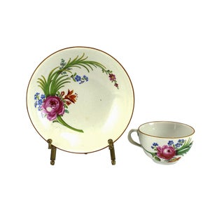 Marcolini Meissen Hand Painted Porcelain Cup & Saucer, Circa 1800