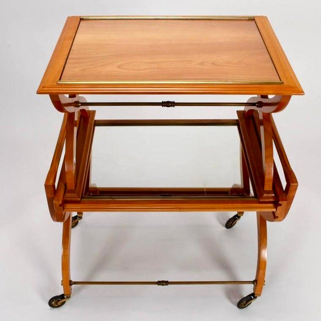 French Mid-Century Serving Trolley & Coordinating Self Storing Table - Image 11 of 11