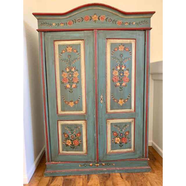 Antique Vintage Hand Painted 19th Century Armoire For Sale - Image 13 of 13