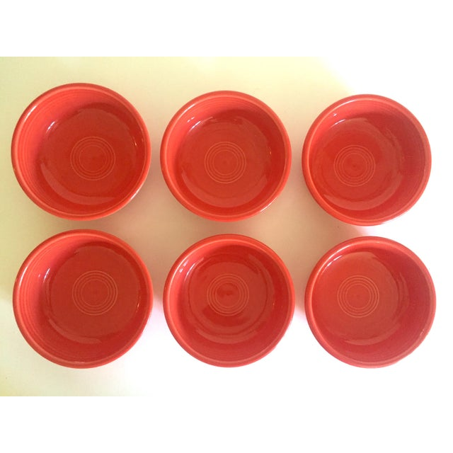 1980s Vintage 1980's Fiesta Ware Homer Laughlin Persimmon Coral Coupe Cereal Soup Bowls - Set of 6 For Sale - Image 5 of 13