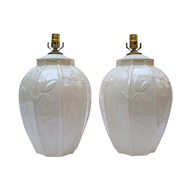 White Ceramic Bamboo Design Lamps - A Pair For Sale