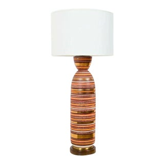 American Tall Bullet Form Striped Ceramic Table Lamp For Sale