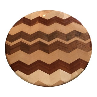 Exotic Wood Lazy Susan in Herringbone