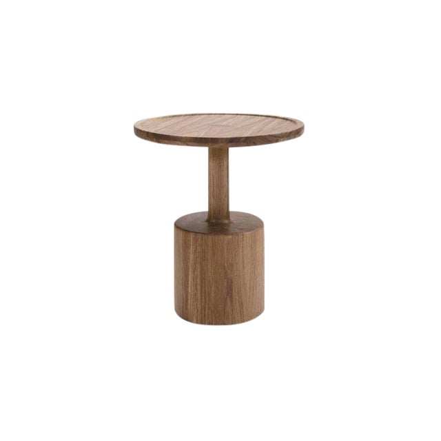 Boton One Side Table in Conacaste Solid Wood For Sale