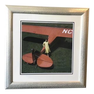 Model and Airplane Framed Photograph For Sale