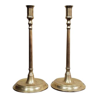 Pair of Early 20th Century Solid Brass Candlesticks C.1910 For Sale