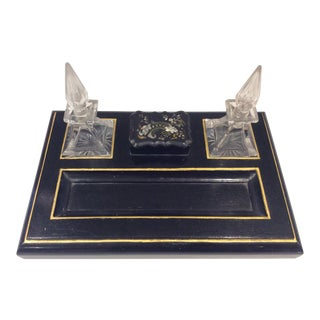 Victorian Black Lacquer Mother of Pearl Inkwell Desk Set For Sale