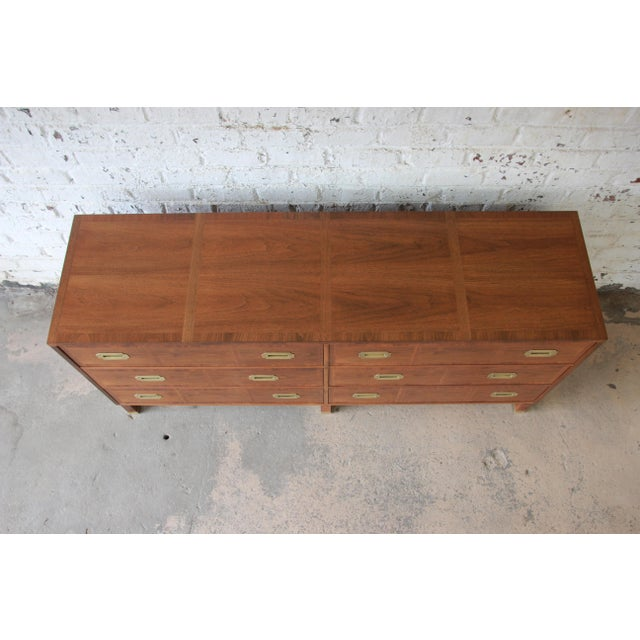 Brown Baker Furniture Milling Road Campaign Style Long Dresser or Credenza For Sale - Image 8 of 13