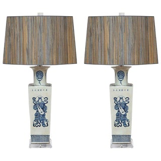 Vintage B&w Warrior Vase Table Lamps - a Pair For Sale