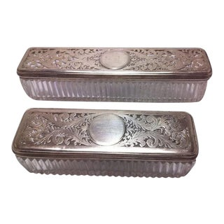 2 Georgian Silver Matching Glass Dresser Boxes With Cut-Out Sterling Tops For Sale