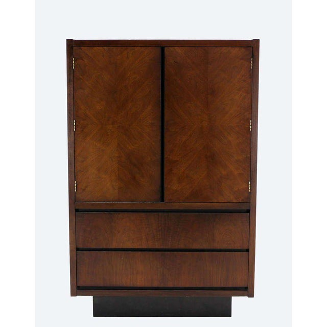 Mid-Century Modern Walnut Gentlemen's High Chest Chifferobe Armoire For Sale - Image 9 of 10
