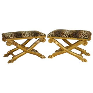 Pair of Regency Carved Gilt Curule Benches or Stools