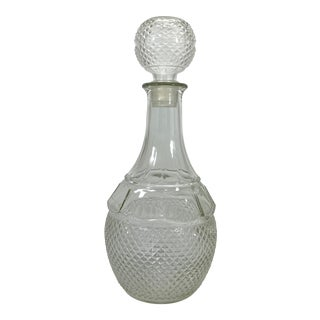 1960s Pressed Diamond Point Glass Wine Decanter For Sale