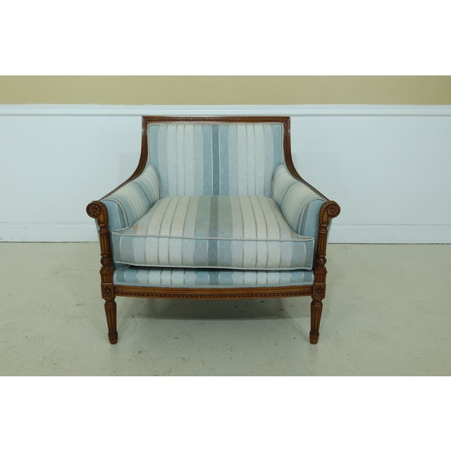 French Nancy Corzine French Louis XVI Style Upholstered Chair For Sale - Image 3 of 12