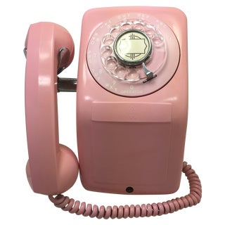 Pink 1960s Ae Rotary Dial Wall Telephone