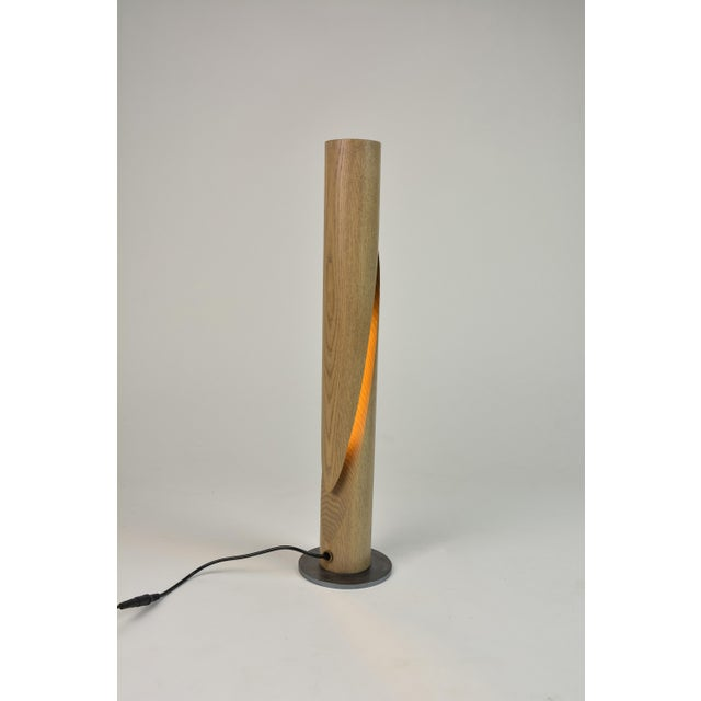 Cleave - Ash Wooden Dowel Table Led Lamp With Steel Base For Sale - Image 4 of 6