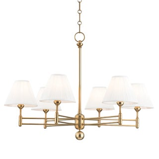 Classic No.1 6 Light Chandelier - Aged Brass For Sale