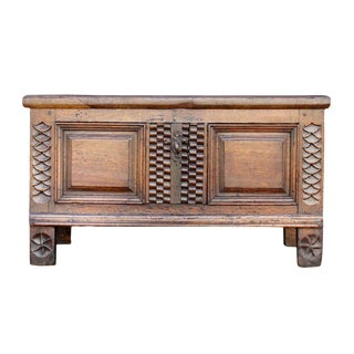 Vintage 18th C. Carved English Oak Chest For Sale